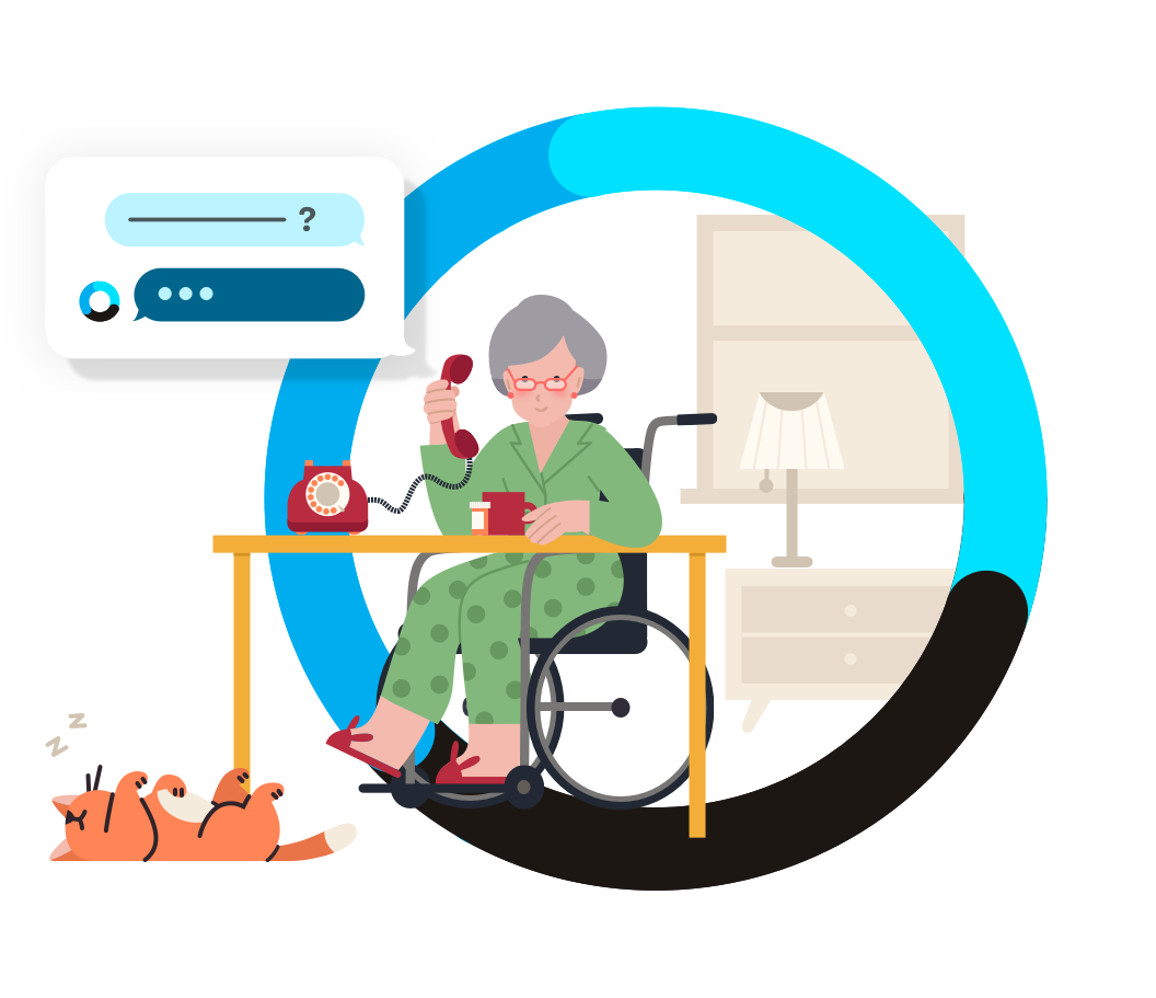 Older woman in wheelchair with green pajamas talking on analog phone via IVR